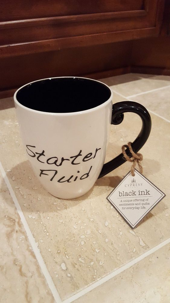 Starter Fluid Black and White Brutal Black Ink Coffee Cup,Mechanic ...