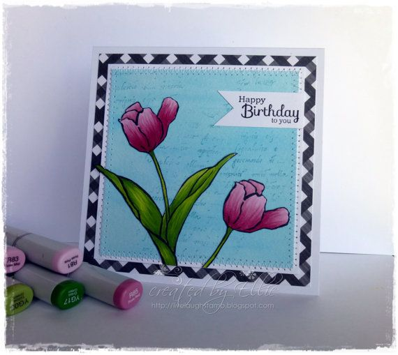 Handmade Greeting Card measuring approx. 5x5 inches square, complete with a square envelope. This Happy Birthday greeting card was made by me