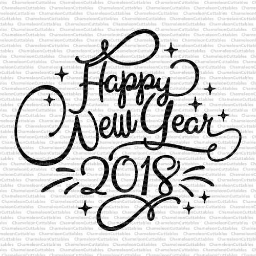 happy new year 2018 svg cut file vector graphic