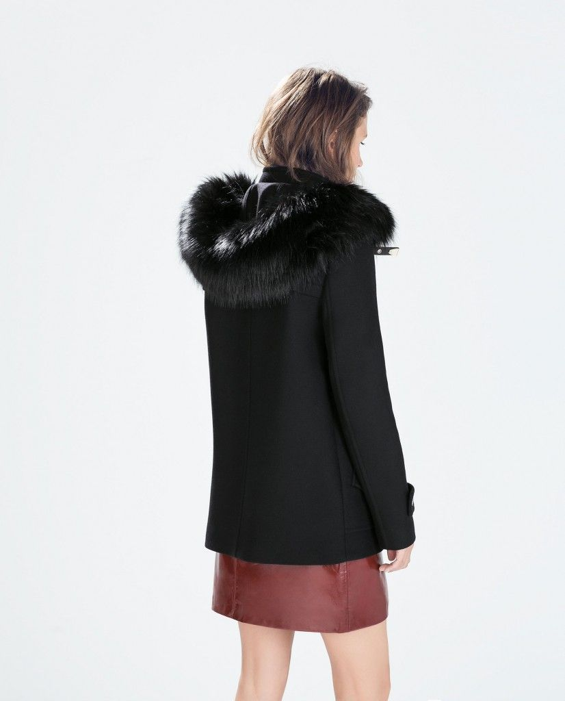 RÉF. 7707 744 manteau zara noir fourrue capuche   À acheter ... 062cb6e152e