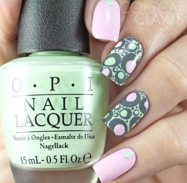 Green and Pink Nails   Nails Nails Nails...PART II   Pinterest   Belleza