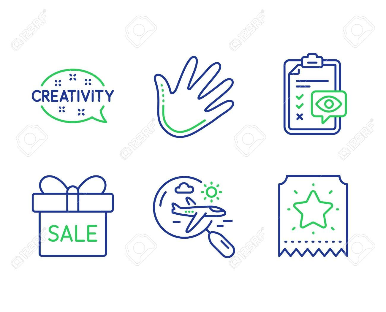 Search flight Creativity and Hand line icons set Eye checklist Sale offer and Loyalty ticket signs Airplane trip Inspiration Swipe Optometry Line search flight outline ic...