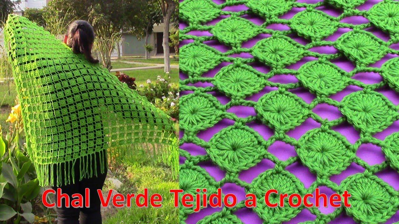 Chal Verde Tejido a Crochet en forma triangular paso a paso ...