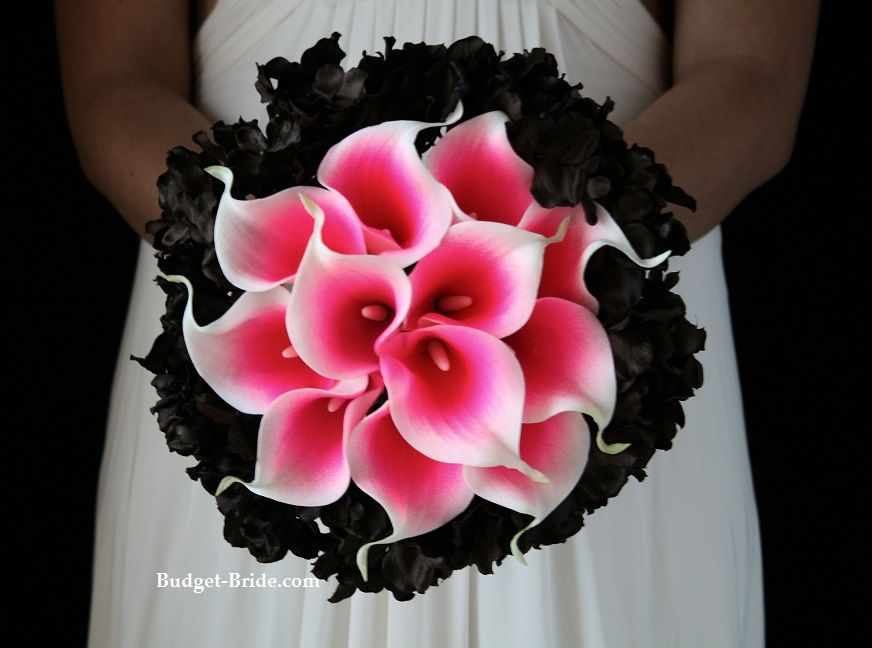 Hot pink and black brides bouquet wedding pinterest hot pink hot pink and black brides bouquet mightylinksfo
