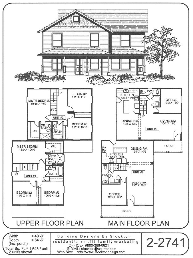 Looks more like a 1 unit.  Has and office on the 1st floor that could be used as a bedroom in the future (but only a powder room on 1st floor.