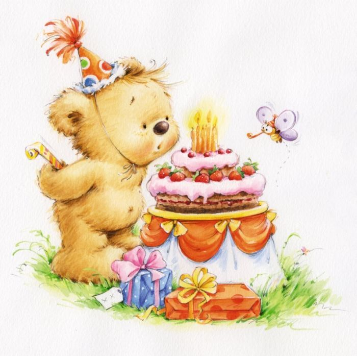 Открытки с медведями к дню рождения