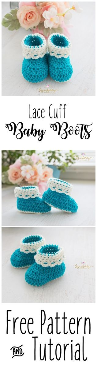 Lace Cuff Crochet Baby Boots + Free Pattern, Baby Shoes + Tutorial ...