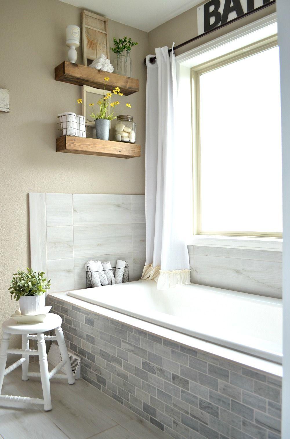 Vintage Farmhouse style bathroom--mixing vintage and modern decor ...