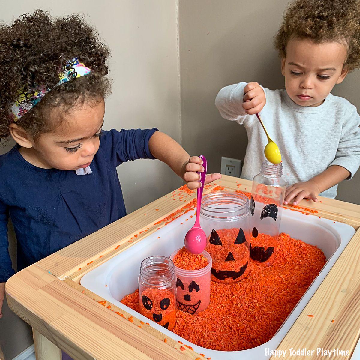 Jack O Lantern Sensory Bin For Toddlers