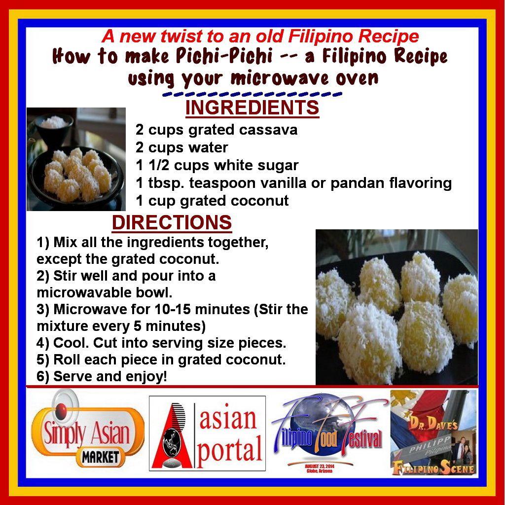 Microwave Version Of How To Make Pichi Pichi A Filipino Recipe Microwave Pichi Pichi That Is Filipino Recipes Easy Microwave Recipes Microwave Recipes