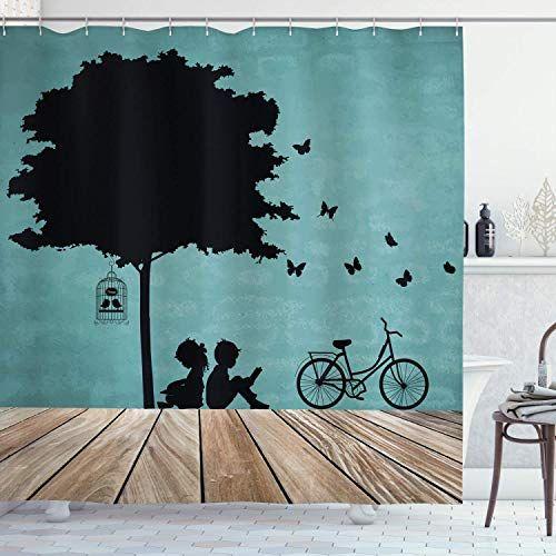 JOOCAR Nature Shower Curtain, Boy and Girl Children ...