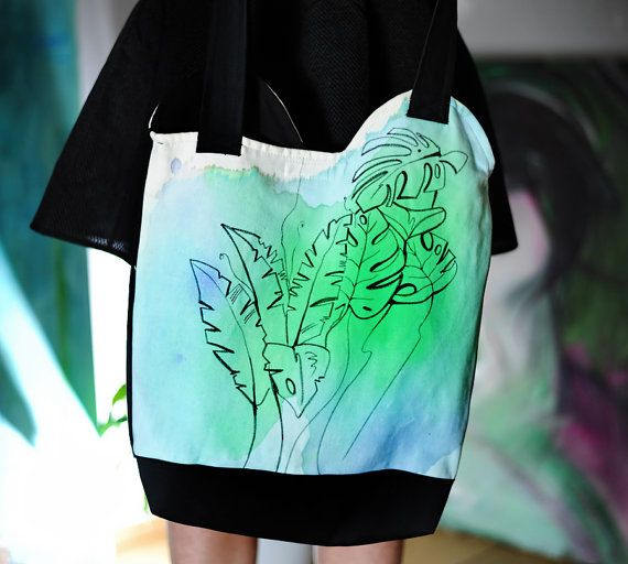 Green floral handpainted unique tote bag Spring by EJSIdsgn
