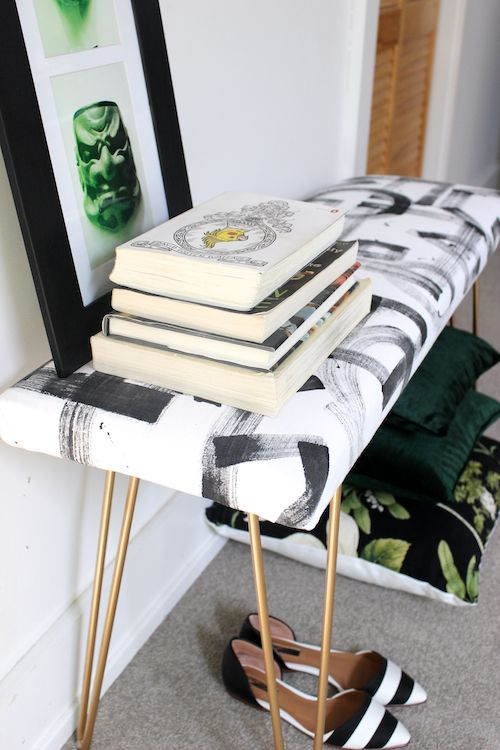 Diy Brushstroke Upholstered Bench With Br Hairpin Legs A Hidden Compartment Could Double As Charging Station