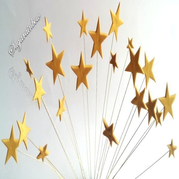 24 Edible sugar cake decorations stars on wires wired stars cake toppers
