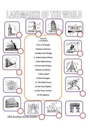 MATCH1.Taj Mahal 2.Arc of Triumph3.Roman Coliseum 4.Golden Gate Bridge5. Sydney …