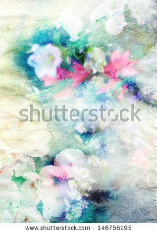 Abstract ink blob combined with field flowers on paper texture - stock photo