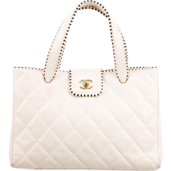 Pre Owned Chanel Quilted Leather Tote 995 Liked On Polyvore Featuring Bags Pursewhite