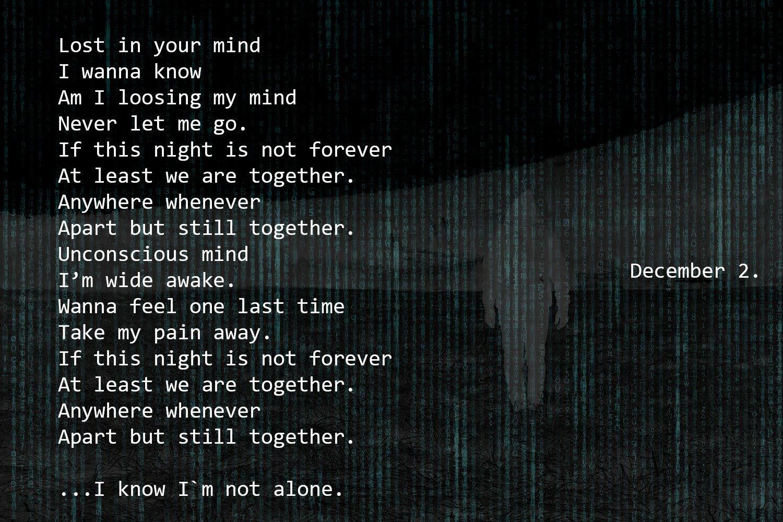 Sneak Peak Of The Lyrics For Alan S New Single Alone The Teaser