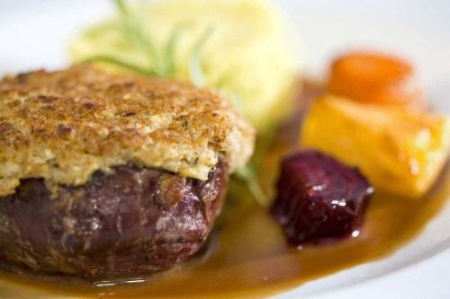 Reindeer steak at Hotel Kultahovi, Inari, Finland... I ate this exact meal while I was there and it was amazing