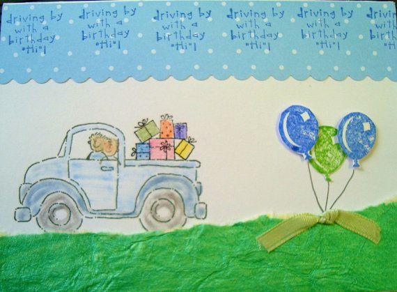 Birthday Card Happy Birthday Pickup Truck Balloons Greeting
