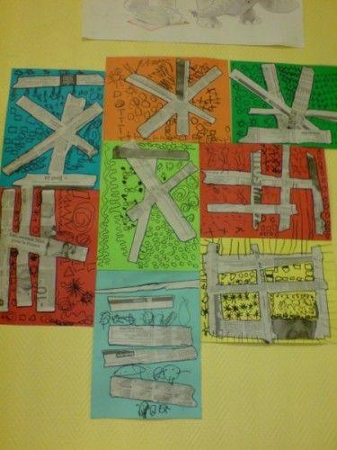 Fer grafismes diferents en els diferents espais que delimiten les tires de paper de diari.
