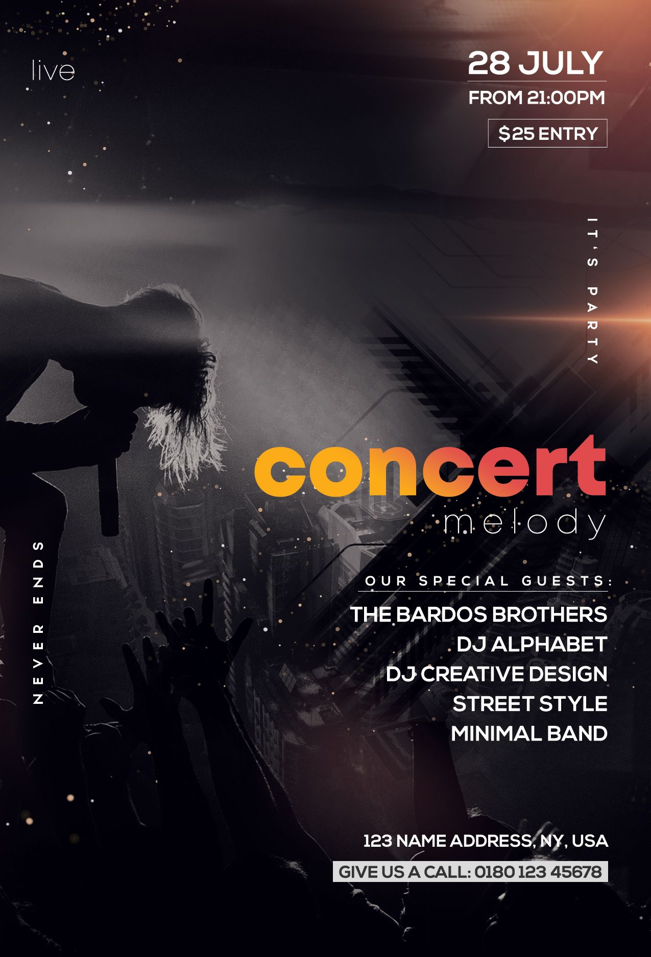 Free Concert Melody Psd Flyer Template Pixelsdesign Concert Flyer Free Psd Flyer Templates Psd Flyer Templates