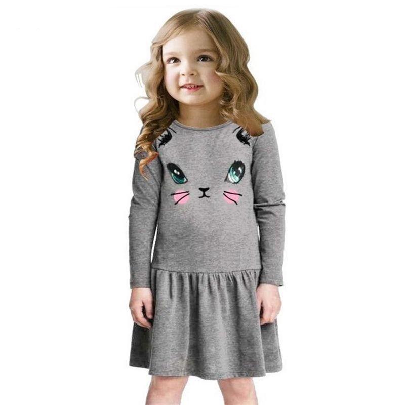2b008ffa2787 Girls Dress New Fashion Summer Cat Print Children Long Sleeve ...