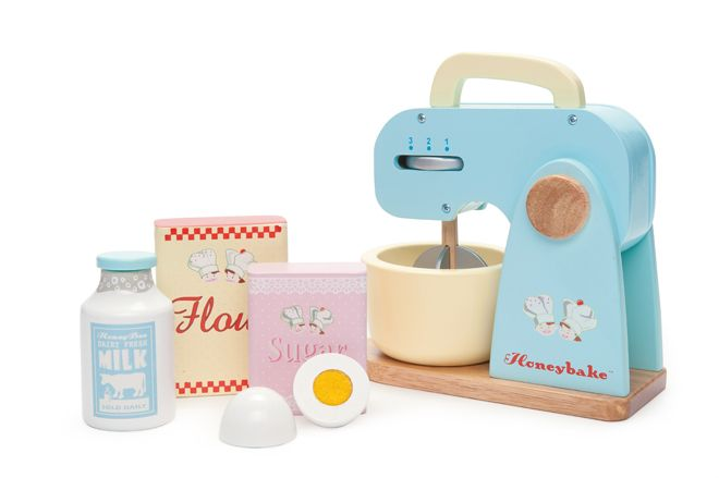 Wooden mixer set toy by Le Toy Van and available from Lula Sapphire, as featured on Bobby Rabbit
