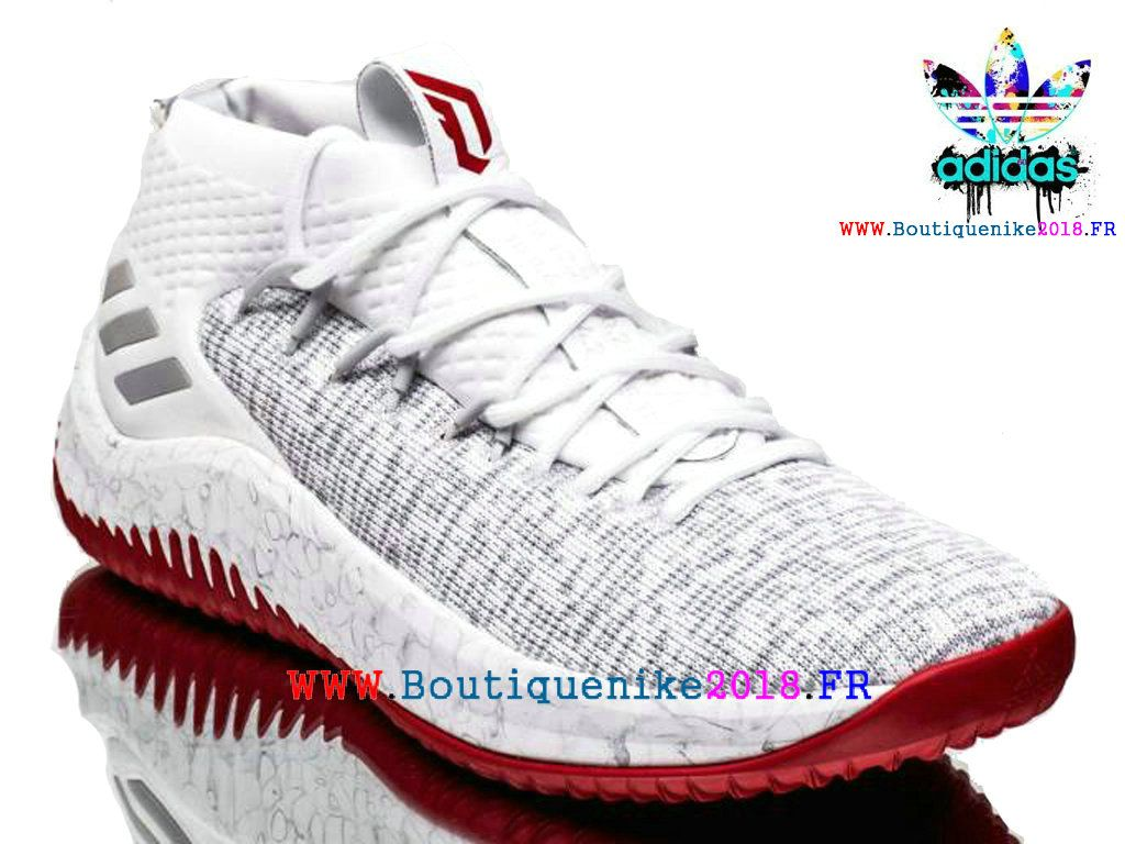 new product fecf7 bf6df Nouveau Adidas Dame 4 Basketball Chaussures Damian Lillard Homme Blanc   rouge CQ0471