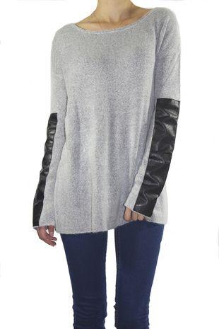Leather Sleeve Sweater Moda Pinterest Leather