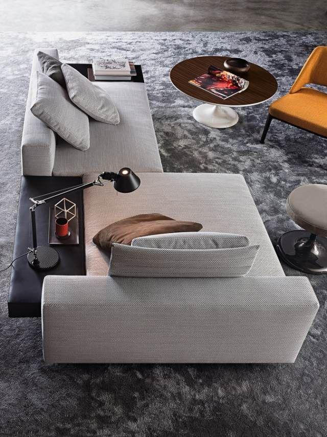 Sofa Set Wohnzimmer Lounge Teppichboden Hochflorteppich Grau
