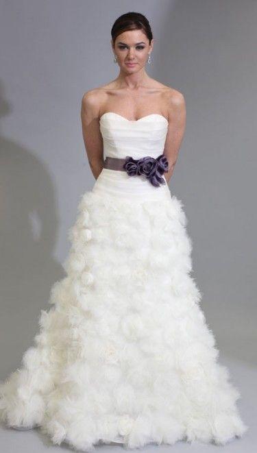 Modern Trousseau Strapless Sweetheart Wedding Dress With Ribbon - Rosette Wedding Dress
