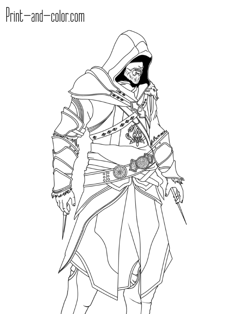 Ezio Auditore Da Firenze Old Assassin S Creed 2 Brotherhood In 2021 Assassins Creed Coloring Pages Creed