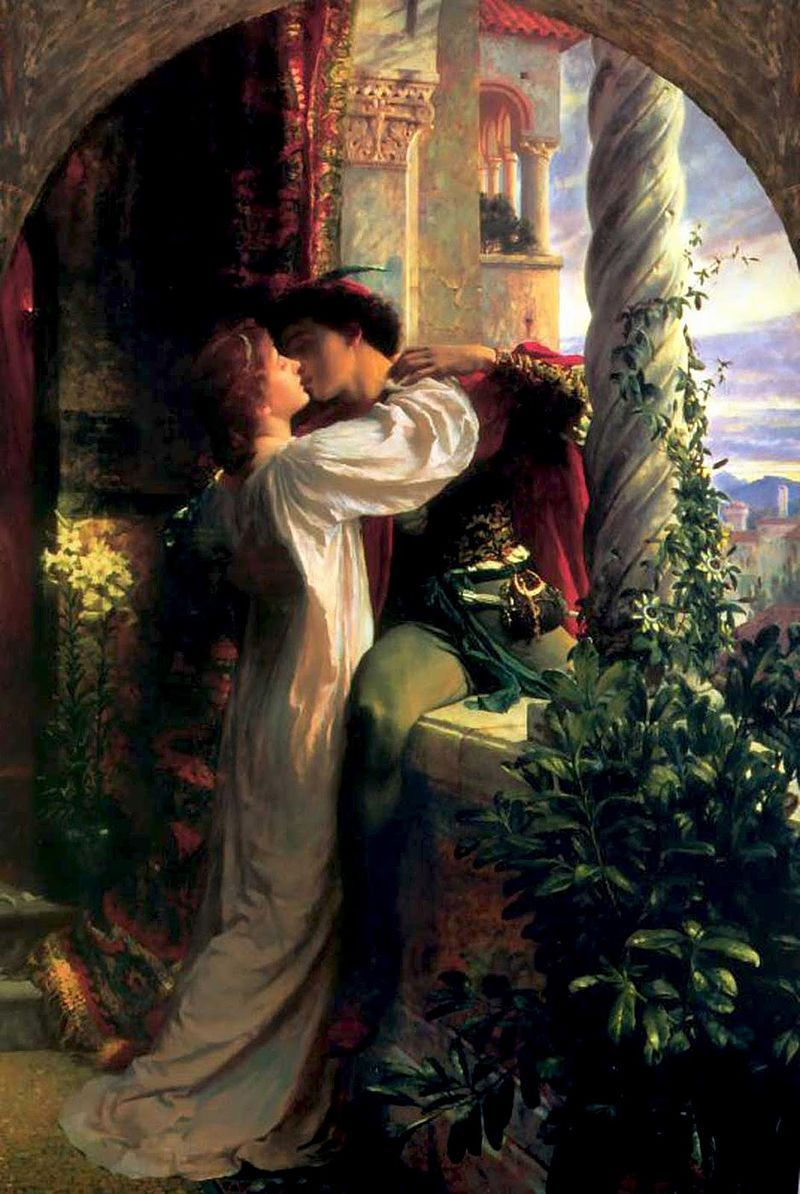 Photo of Archetypal lovers Romeo and Juliet portrayed by Frank Dicksee (1884)