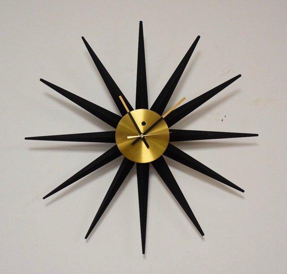 George Nelson For Howard Miller Sunburst Clock Sunburst Clock