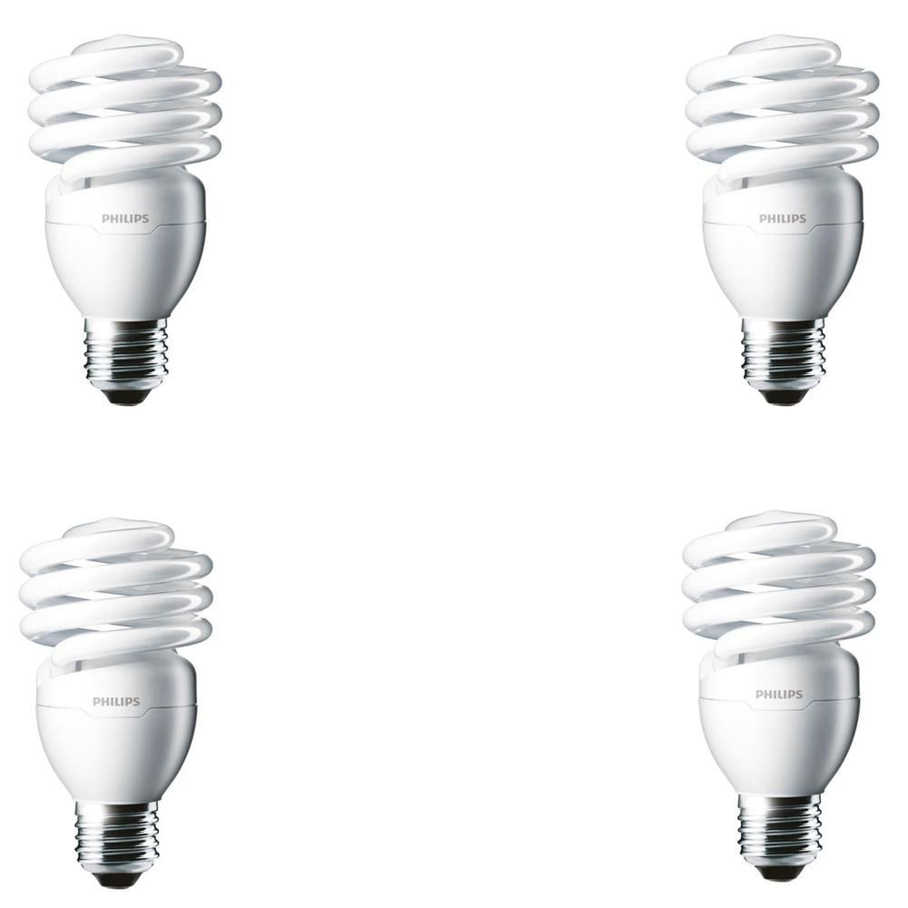 Philips 100 Watt Equivalent T2 Twister Cfl Light Bulb Daylight Deluxe 4 Pack 433557 The Home Depot Decorative Light Bulbs Light Bulb Porch Light Bulb