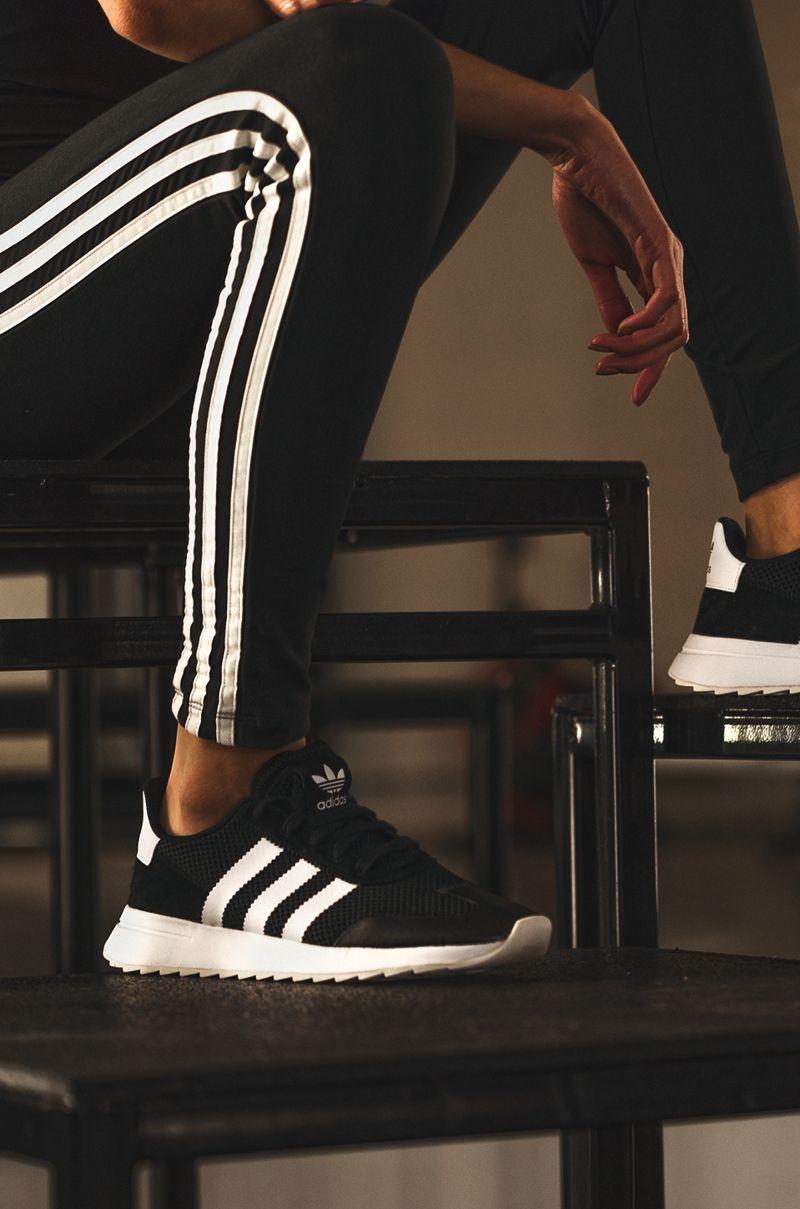 8d913329511c24 adidas Women s Flashback Sneaker in Black White Black