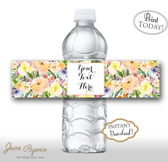 INSTANT DOWNLOAD - Pink Floral Water Bottle Labels - Peach ...