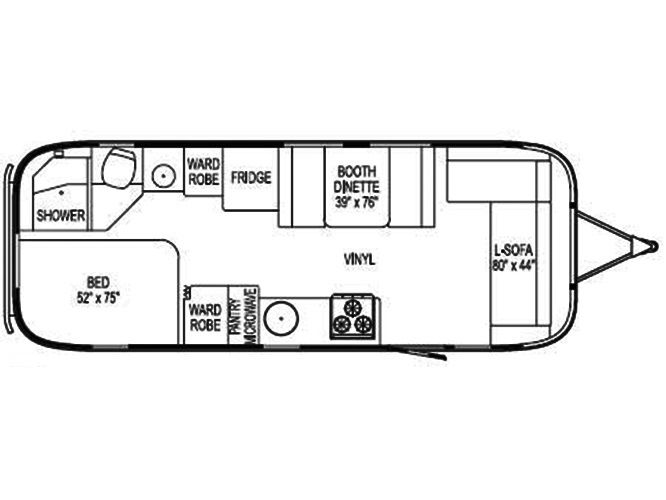 The Vintage Airstream 25 Foot Travel Trailer Floor Plan Travel Trailer Floor Plans Airstream Vintage Airstream