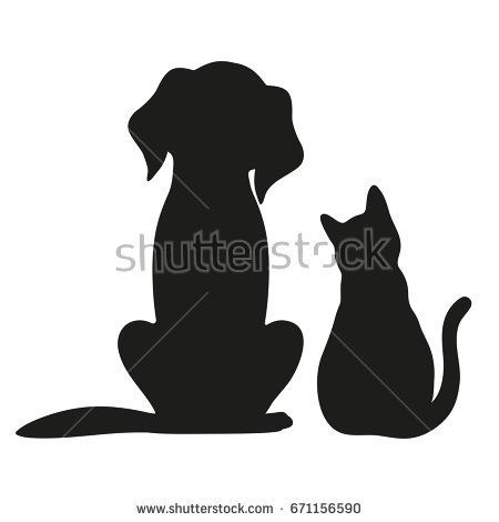 Photo of Silhouette of cat and dog on vector de stock (libre de regalías) 671156590