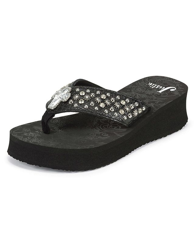 2e56ff352f2409 Justin Black Mini-Wedge Flip-Flop Sandals with Crystal Cross ...