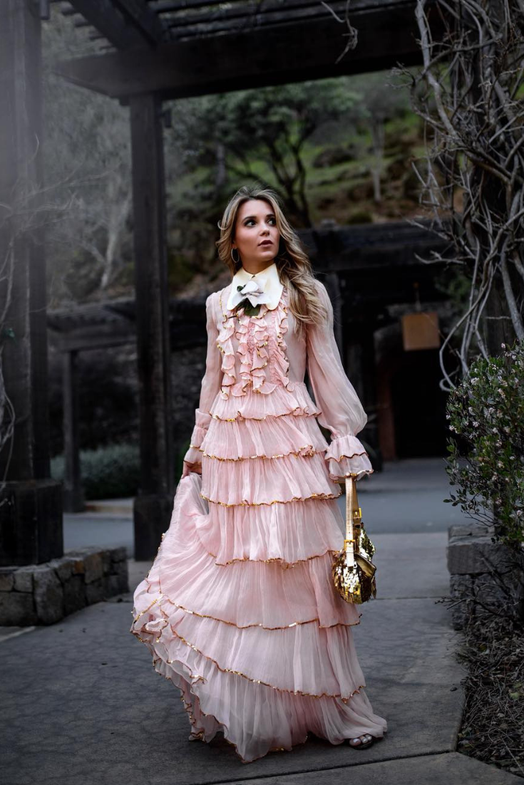 Ruffle Dress Outfit Pink Ruffle Dress Victorian Dress Outfit Chic Dresses Spring Nyc Street Styl Spring Outfits Chic Outfits Spring Ruffle Dress Outfit [ 1102 x 735 Pixel ]