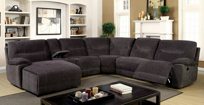 6 Pc Karlee Ii Gray Chenille Fabric Upholstered Sectional Sofa With Recliner And Chaise Features A Push Back Drink Console