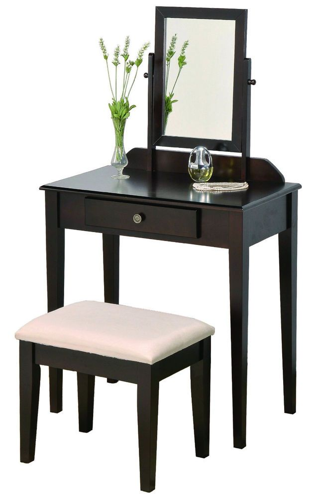 modern vanity table with mirror and bench. Vanity Table Set Makeup Dresser Stool Mirror Drawer Beauty Bedroom Furniture