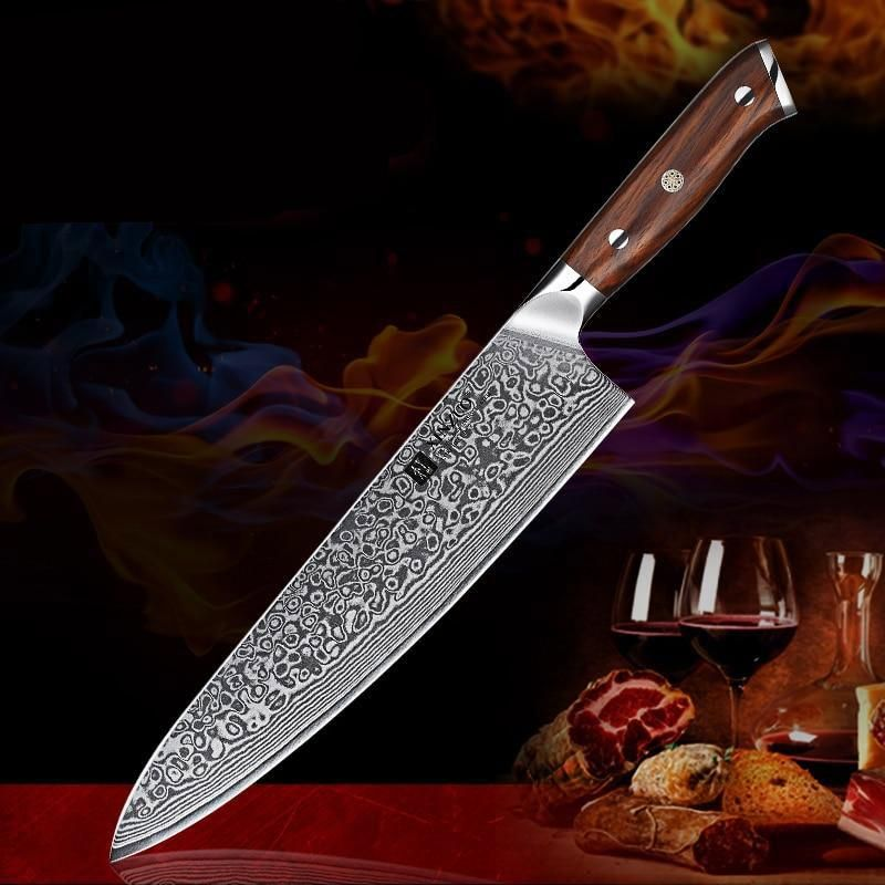 Chef Knives 10 Inch Damascus Steel Professional Gyotou Kitchen Accessories With Rosewood Handle Tools Kitchen Knives Chef Knife Knife
