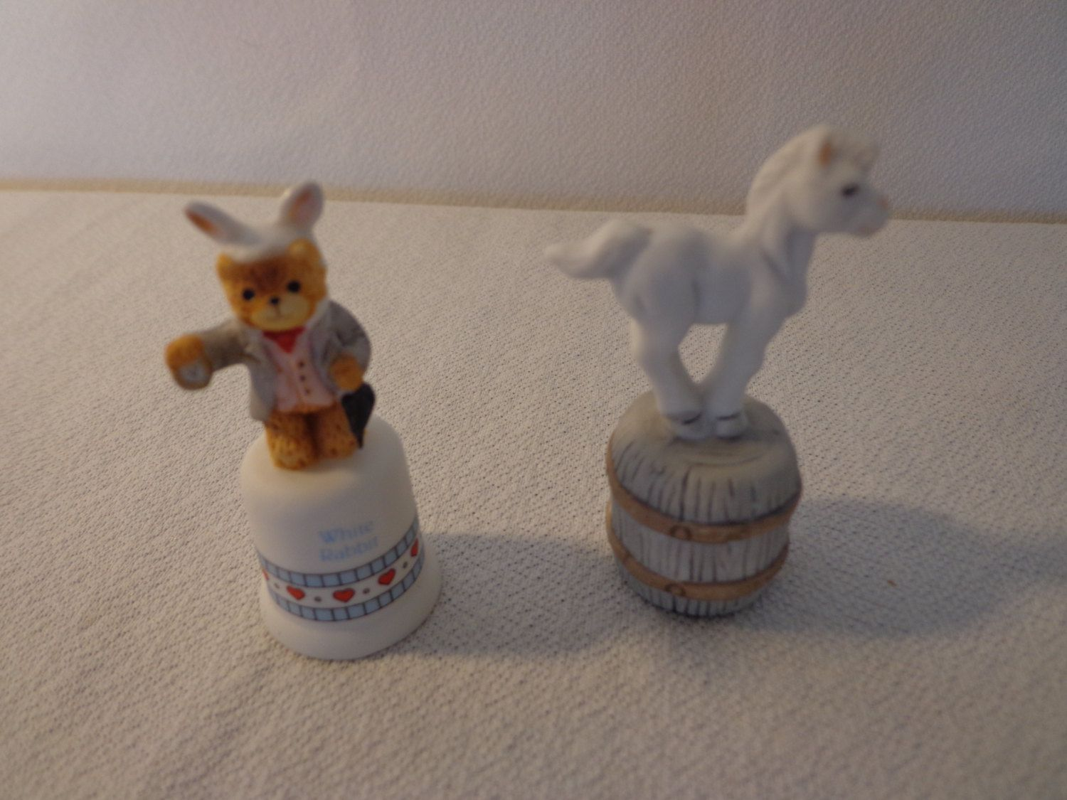 """Adorable Vintage """"Rabbit and Horse"""" Porcelain Thimbles by Enesco by thingsbybrinda on Etsy"""