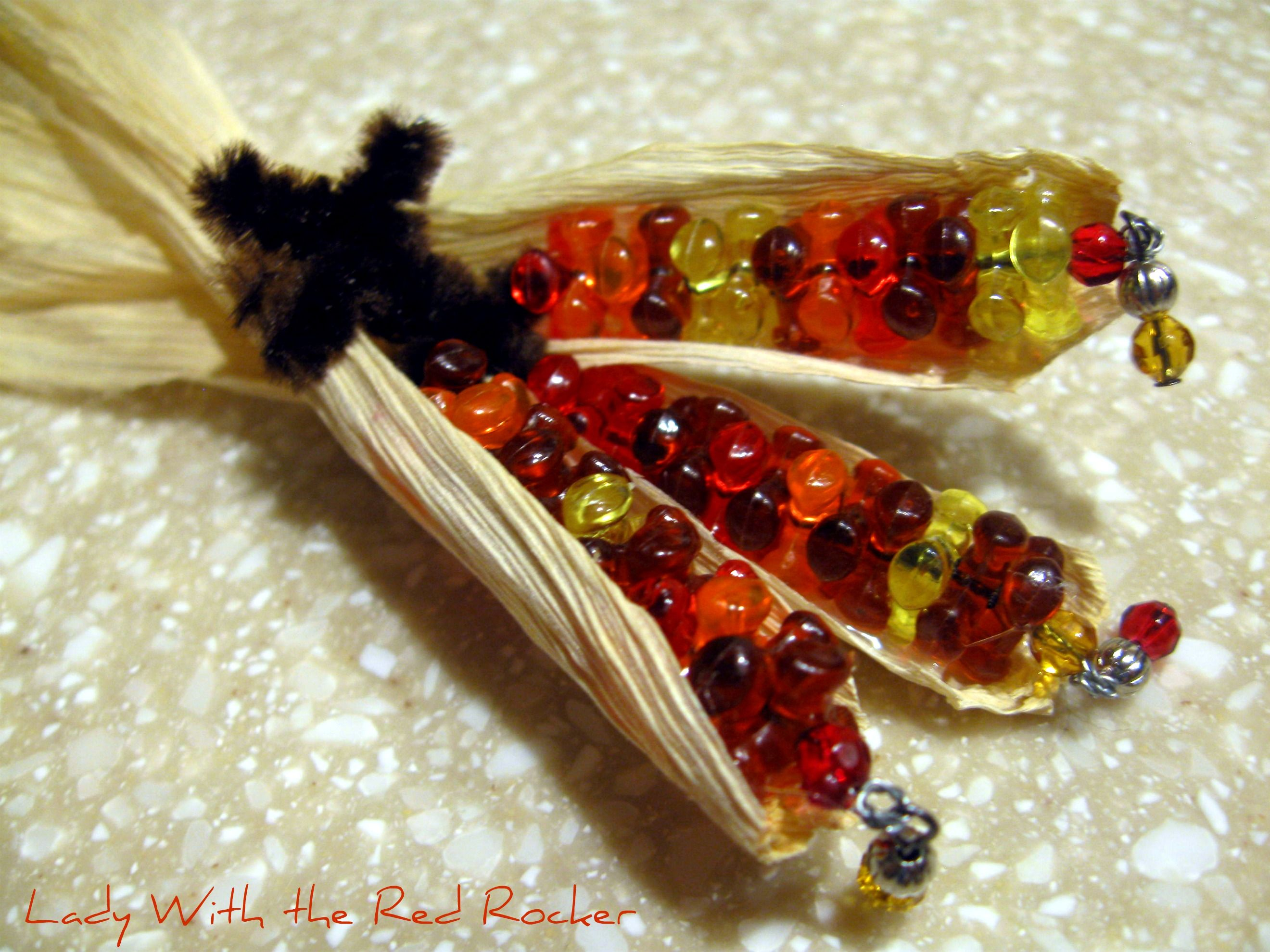LadyWithTheRedRocker Beaded Indian Corn Pin Corn pins