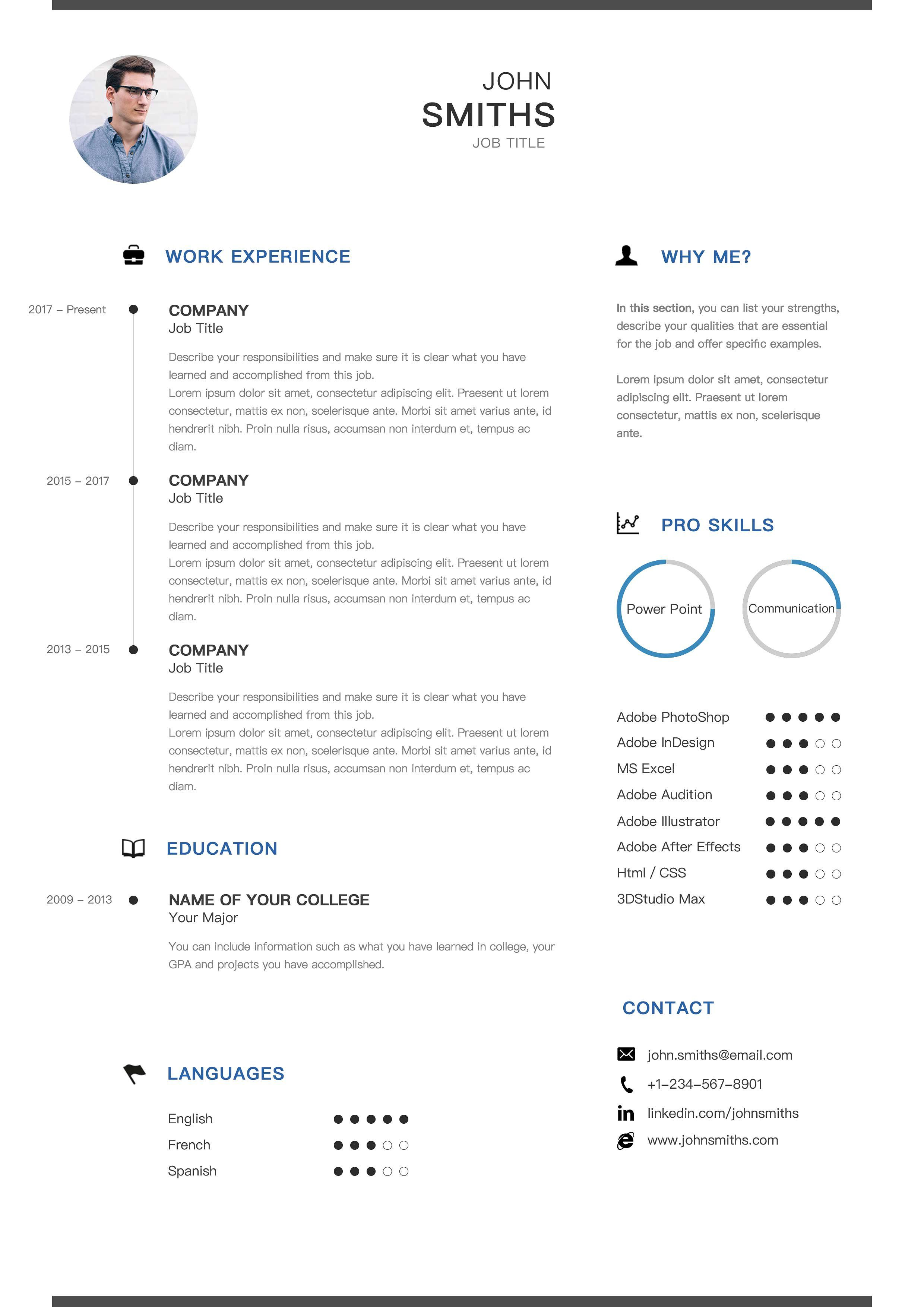 Basic Clean Resume Cv Grouped Good Separated Edit