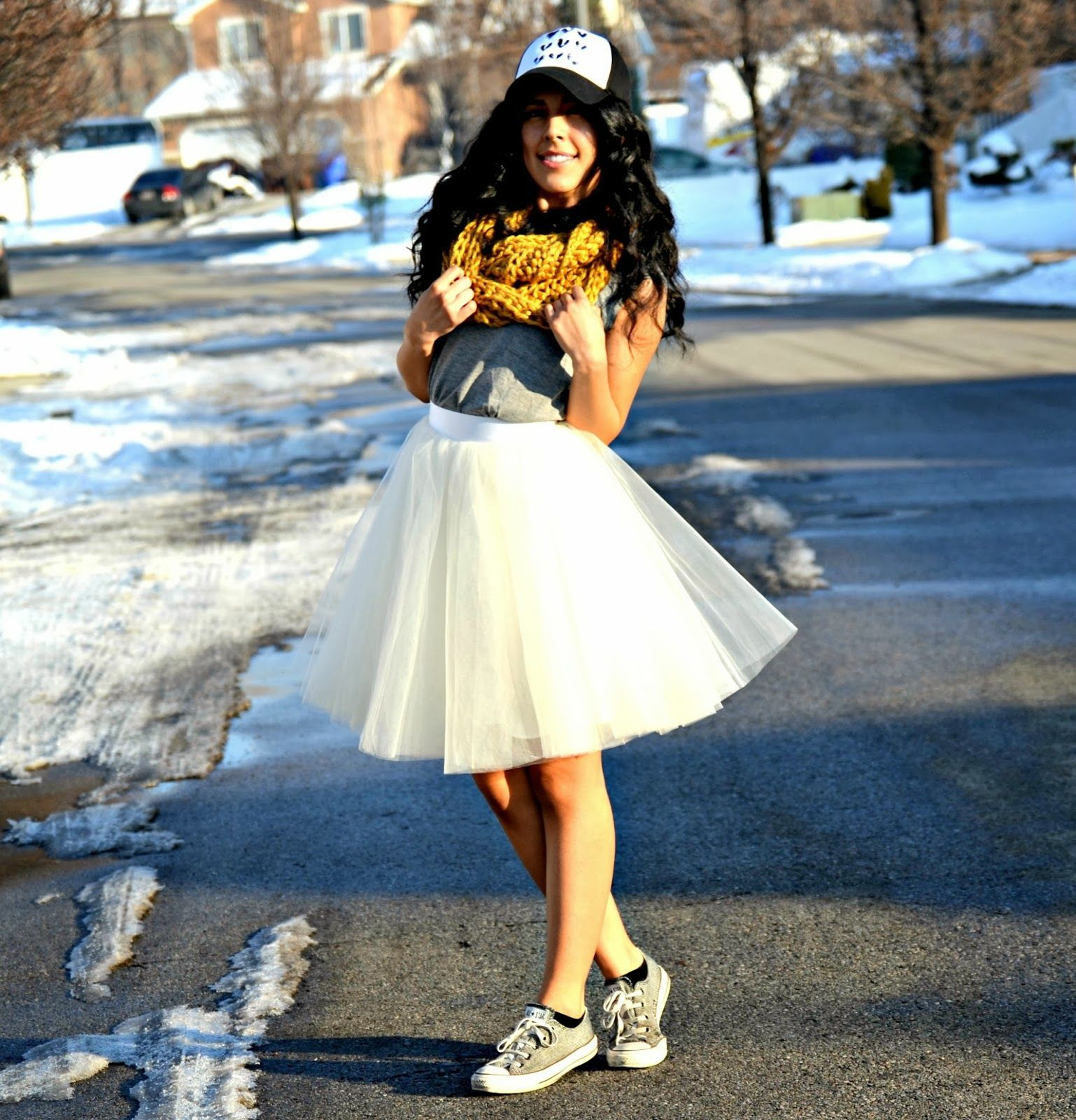 2749bff496 Mustard yellow infinity scarf, trucker hat, and converse. A dressed down tulle  skirt outfit.