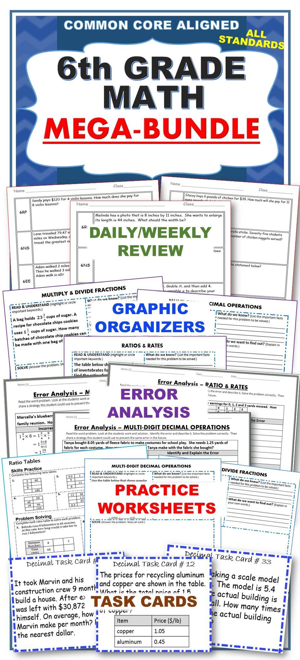 6th Grade Math Common Core Assessments Warm Ups Task Cards Worksheets Bundle Error Analysis Math Middle School Math Teacher [ 2112 x 960 Pixel ]